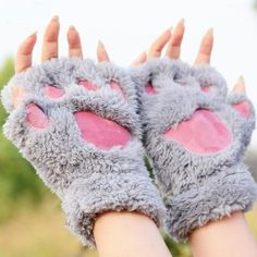 Plush Kitty Paw Gloves