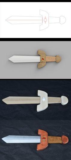 The new work: Kokiri Sword and Deku Shield, from The Legend of Zelda: Ocarina of Time. Link Costume, Legend Of Zelda, Fun Projects, New Work, Geek Stuff, Sword, Fantasy, Group, Games