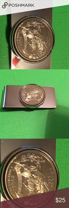 2006 Silver Nevada State Quarter Money Clip A-2-55 polisher Stainless Steel Money Clip with a 2006-S Quarter from a mint set. never Touched until you get it. HM Simon Accessories Money Clips