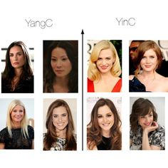 YinC and YangC Faces by thewildpapillon on Polyvore featuring beauty, Brooks and Rachel. The two on the lower right might be YangRs...