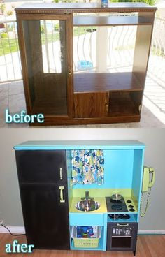 what a brilliant way to re-purpose that old entertainment center and not have to spend money on an over priced kitchen play set for the kiddos.