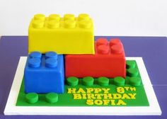 some Lego cakes for the birthday party Happy 8th Birthday, Lego Birthday Party, Boy Birthday, Cake Birthday, Birthday Ideas, Giant Lego Blocks, Bolo Lego, Cakes For Boys, Savoury Cake