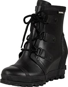 Sorel Women's Joan Rain Wedge Booties, Black/ Sea Salt, 8 B(M) US: A covered wedge heel adds height to these monochrome Sorel rain booties. Lace-up closure. Bonded mesh lining and padded insole. Black Sea Salt, Snow Boots Women, Black Booties, Wedge Heels, Monochrome, Hiking Boots, Combat Boots, Image Link, Rain