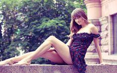 julia i, платье, ножки, взгляд, девушка