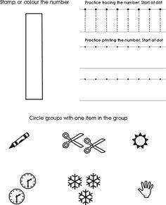 Number One Worksheet | Free Preschool Printable