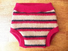 Upcycled Wool Diaper Cover - Wool Soaker Shorties Trainers - Dark Beige with Navy Blue and Deep Red Stripes - Size Large (10-24 Months)