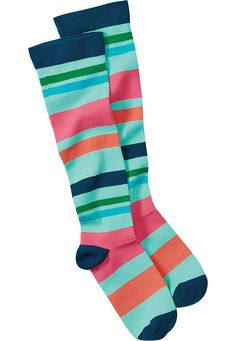 These Beyond Scrubs compression scrub socks in Multi Stripe Pool are a super fun  way to spice up any outfit! | Scrubs & Beyond