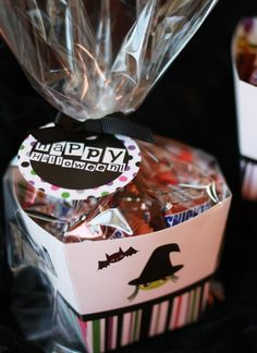 "FREE Printable Halloween treat box...This little printable treat box is the perfect size for candy, snacks or toys – you can even make it ""to go"" by slipping it into a cellophane favor bag. CUTE!"