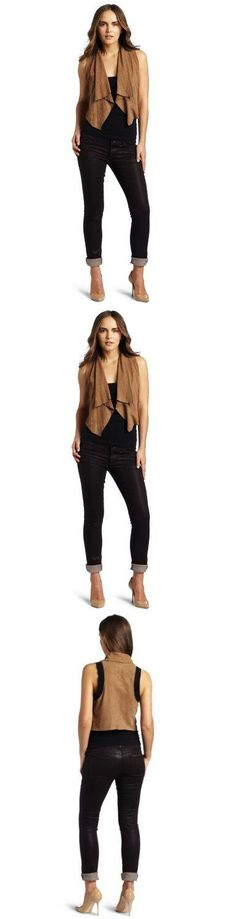 Doma Women's Irregular Vest, Sand, Small This super-soft goatskin vest has a beautifully draped lapel and a cropped fit. Black goatskin trim on back..  #Doma #Apparel