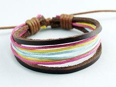 Brown Leather Wax rope Adjustable Charming Bracelet by ACuteCute