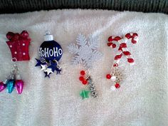 Holiday pins by hempDeesigns on Etsy, $7.00