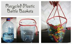 recycled plastic bottle basket - use duck tape in a nice color for around the edge!.