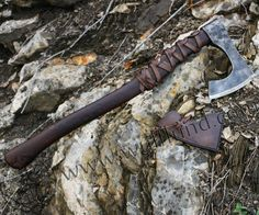 $140.40 - Hand forged medieval axe - so called bearded axe.   In a blunt version is edge rounded, case hardened for re-enactment   practise. Size of a head of an axe: 16 x 19 cm, shaft is approx 55 cm long. Excellent product of Arma Epona smithy (Czech Republic). You can buy a leather case for the axe.