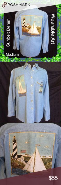 """Sunbelt Denim / Wearable Art Jacket / Shirt / Med Sunbelt Denim / Wearable Art Jacket / Shirt / Size Medium / Approximate measurements laying flat: Bust 42"""" & Length 27"""" / Sailboats / Lighthouses / Summer Fun!  Please feel free to make an offer - Enjoy BIG discounts on bundles & save $$$ on shipping! I package safely & ship fast.  TY & Happy Poshing! 💜💜💜 B7 Sunbelt Denim Jackets & Coats Jean Jackets"""