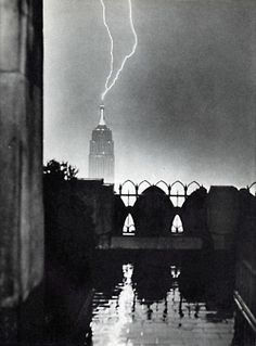 Ray lighting strikes the Empire State Building. NYC, 1944.