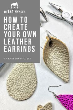 Uncut Gemstone Jewelry, Rough Blue Prong Studs, Minimalist Jewelry, September Birthstone Gifts - Fine Jewelry Ideas - Making your own genuine leather earrings is easier than you think! Diy Leather Earrings, Leather Jewelry, Simple Earrings, How To Make Earrings, Minimalist Earrings, Minimalist Jewelry, How To Make Leather, Diy Bracelets Easy, Leather Projects