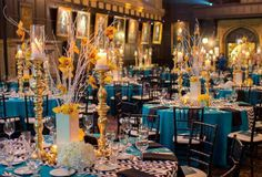#Blue and #yellow #wedding! The blue #tablecloths looked great with the bright #yellow #centerpieces. #weddings #realweddings #events #realevents #eventplanning #bride #weddingideas #blueweddingideas #yellowflowers #flowers