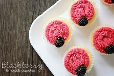 These blackberry lemonade cupcakes are great for a light summer treat. Top with the blackberry frosting, or just whipped cream for a lighter snack.