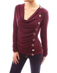 Patty Women Cowl Neck Button Embellished Ruched Blouse Top by topsandteesy