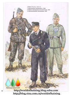 The centre figure is a military police officer of a panzer regiment.