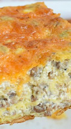 Easy Sausage and Egg Breakfast Casserole ~ Filled with sausage, eggs, and cheese, baked together on a crescent roll crust.