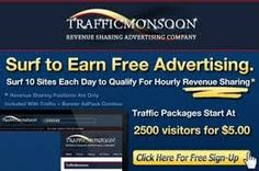 Grow towards $100 a day, every day by advertising your websites and/or viewing advertisers websites with Traffic Monsoon! - Earn money by viewing Paid To Click Ads. - Earn 100% comissions when your referrals view their Paid To Click ads  - Earn 10% comission on all your referrals´ purchases!) - No payment or startup capital needed to grow towards that $100 a day Sign up FREE here: https://trafficmonsoon.com/land.php?id=2&ref=paulus11