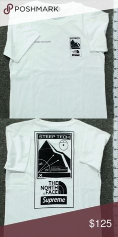 North Face x Supreme Steep Tech T-Shirt Shirt that has been worn a few times, but still very clean. Sizing is off; tag says XL but fits like a M. The North Face Shirts Tees - Short Sleeve