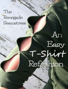 T-Shirt Refashion The Renegade Seamstress has a lot of tutorials for upcycling clothes you thought you were finished with or even thrift store finds. She is pretty talented with turning sweaters into cute cardigans. T-shirt Refashion, Diy Clothes Refashion, Diy Clothing, Sweatshirt Refashion, Meme Costume, Costume Ideas, Costumes, Upcycling Fashion, Recycled Fashion