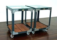 Industrial Glass Top Side Tables - Tannery Tool Trolley - Metal, Wood & Glass Industrial Furniture / Casters for Home Condo Loft or Cottage Glass Top End Tables, Tempered Glass Table Top, Glass Top Coffee Table, Coffee Table Design, Side Tables, Coffee Tables, Iron Furniture, Steel Furniture, Industrial Furniture