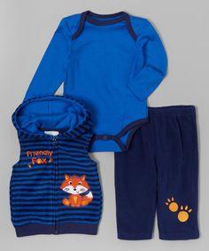Another great find on #zulily! Blue & Navy Stripe 'Friendly Fox' Hooded Vest Set - Infant #zulilyfinds