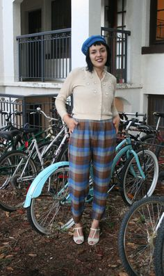 Vintage 1950s Blue & Brown Check Plaid Trousers by adelinesattic, $75.00
