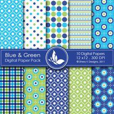 digital paper   Digital Papers & Backgrounds /Blue & Green - 10 Digital papers