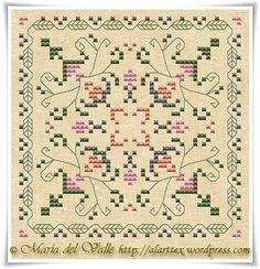 Bircornu d'Été; Summer counted cross stitch biscornu chart; beautiful color chart with DMC color key from France.