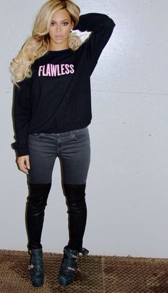 Flawless Jumper. Jeans. Boots. Urban Outfit. Urban Fashion. Swag. Hip Hop Fashion. Celebrity Style. Beyonce Style