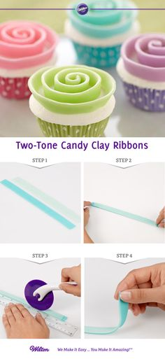 How to make Candy Clay Ribbons for Cupcakes Wilton Cake Decorating, Cake Decorating Tutorials, Cookie Decorating, Cupcakes Flores, Flower Cupcakes, Cake Icing, Eat Cake, Frosting, Cupcakes Decorados