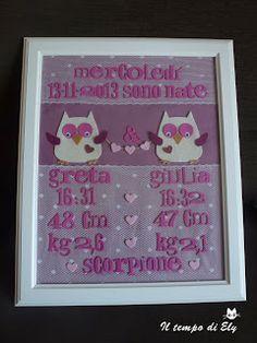 Quadro nascita Giulia e Greta