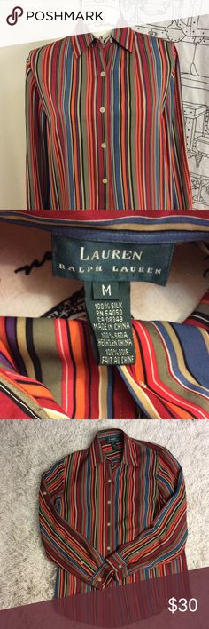 Women's Ralph Lauren button down 100% silk blouse Beautiful Lauren Ralph Lauren  multicolored striped 100% button down silk blouse with button sleeves   Armpit to armpit 20 inches length from shoulder to bottom of blouse is 27 1/2 inches Arm length from shoulder to bottom of sleeve 24 inches Like new condition Lauren Ralph Lauren Tops Button Down Shirts