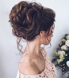 #wedding hairstyles for #bride #bridesmaid #curl volume hair with dark brown hair | cute | chic | for girls and women | long #hairstyles | with updo braid