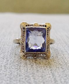 Victorian Art Deco Light Blue Sapphire Halo Diamond Filigree Gemstone Engagement Ring Antique Filigree Emerald Cut 14K White Gold Size 6