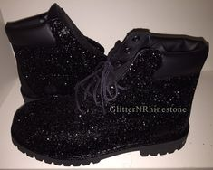 Share to get a coupon for all on FSJ Black Comfortable Shoes Lace Up Glitter Biker Boots Custom Timberland Boots, Timberland Boots Outfit, Timberland Waterproof Boots, Tims Boots, Heeled Boots, Bootie Boots, Shoe Boots, Ankle Boots, Glitter Timberlands