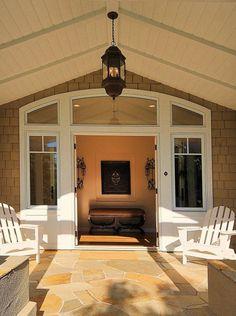 covered patio ceiling Entrance Lighting, Porch Lighting, Porch Entry, Entry Doors, Front Porch, Front Doors, Entryway, Garage Doors, Cape Cod