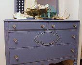 Sold'''''''''   Vintage Dresser with mirror  in Old Violet Chalk Paint