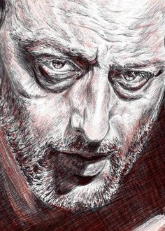 Custom portrait print of Leon and Mathilda from Leon: The Professional. Drawn with black ink and colored with Caran Dache red pencil. The art will…