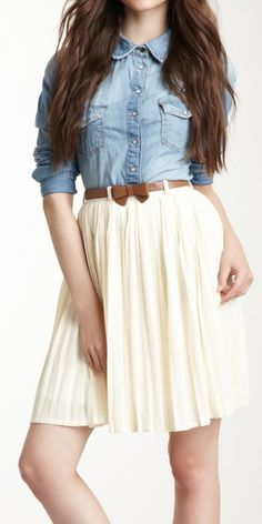 Chambray + pleated skirt