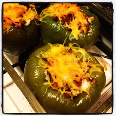 Stuffed Bell Peppers with Cream Cheese, Sausage, and Rice! ((:   Boil bell peppers (whole) for about 30mins. Brown sausage, and cook white rice. When peppers are finished, cut the tops off and let cool. Mix rice, cream cheese an sausage. Stuff the bell peppers and add extra sausage/shredded cheese to top them off. Bake for 20mins and then ENJOY!!! ((:  Recipe from ME (;