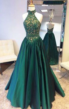 Elegant Halter Sweep Train Hunter Prom Dress with Lace Beading fbdaa1a35e53