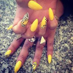 Yellow Stiletto Nails nails nail art summer nails nail ideas nail designs nail pictures