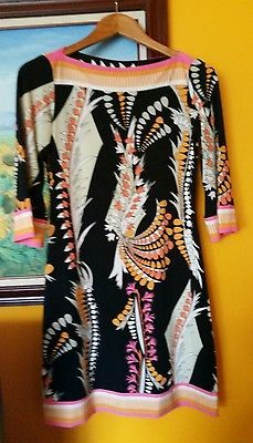 Ali Ro Black Pink Orange Sage Printed 3/4 Sleeve Sheath Dress Sz 0 Desk 2 Dinner