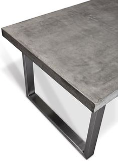Crafted with a fiber-reinforced concrete top and brushed stainless steel legs, this clean-lined dining table boasts industrial appeal. Concrete Top Dining Table, Diy Dining Room Table, Porch Table, Steel Dining Table, Luxury Dining Room, Dining Tables, Welded Furniture, Concrete Furniture, Diy Furniture