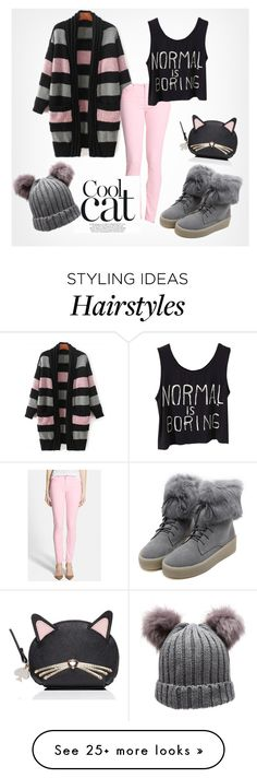 """""""Cool cat"""" by fancy-chic on Polyvore featuring AG Adriano Goldschmied, WithChic and Kate Spade"""